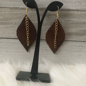 NWT Genuine Leather Earrings w/ Gold Chain Accent
